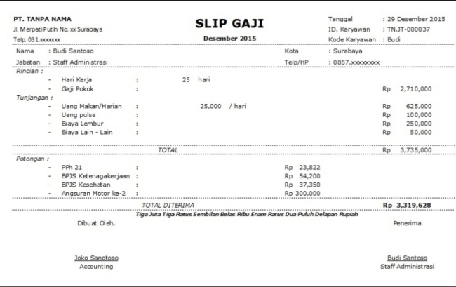 11 Contoh Slip Gaji Karyawan, PNS, Guru, Honorer Terbaru 2017